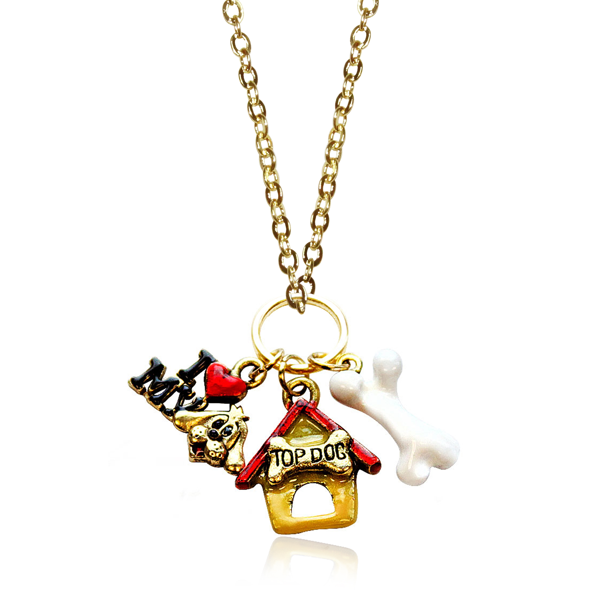 Dog Lover Charm Necklace in Gold