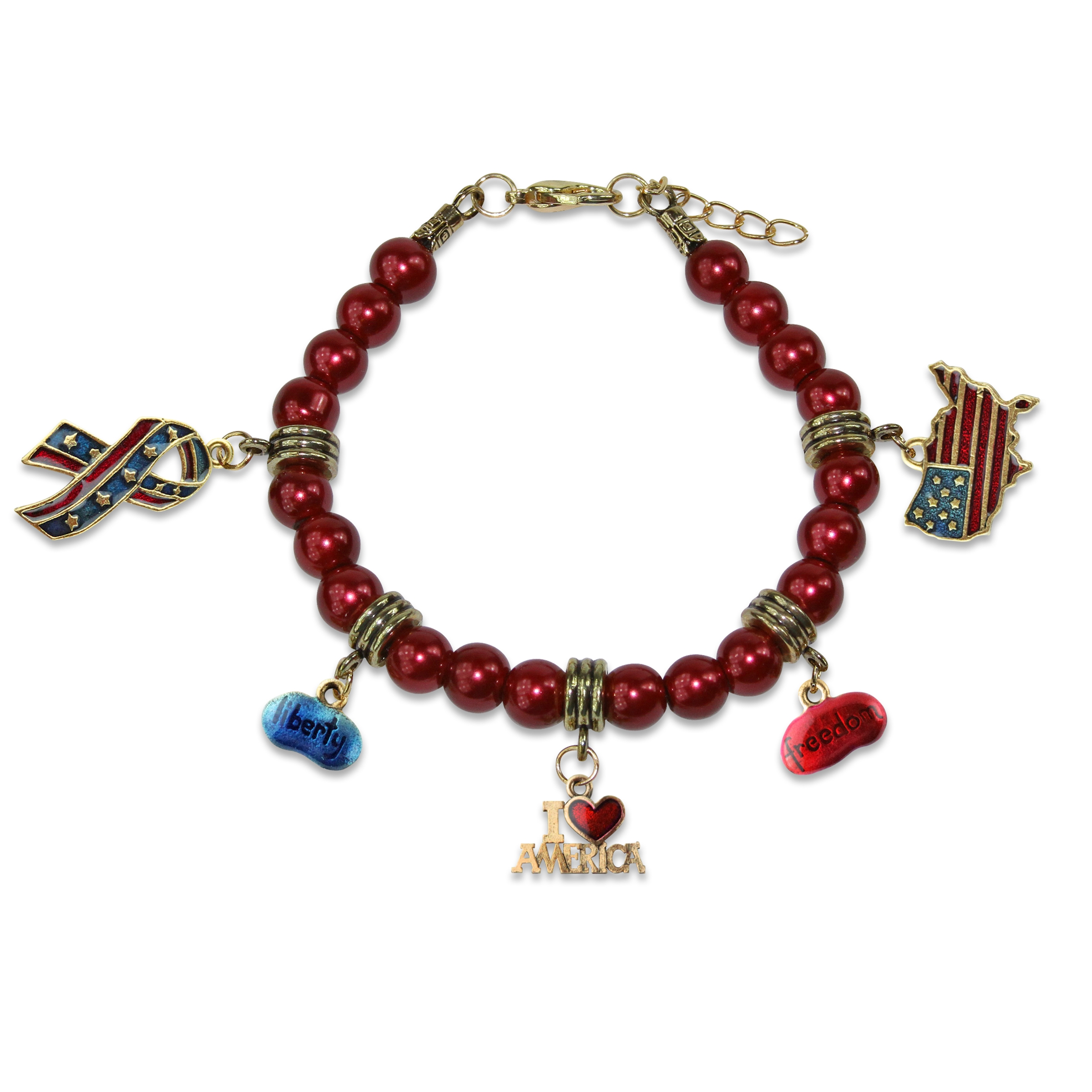 Image of American Patriotic 4th of July Charm Bracelet in Gold