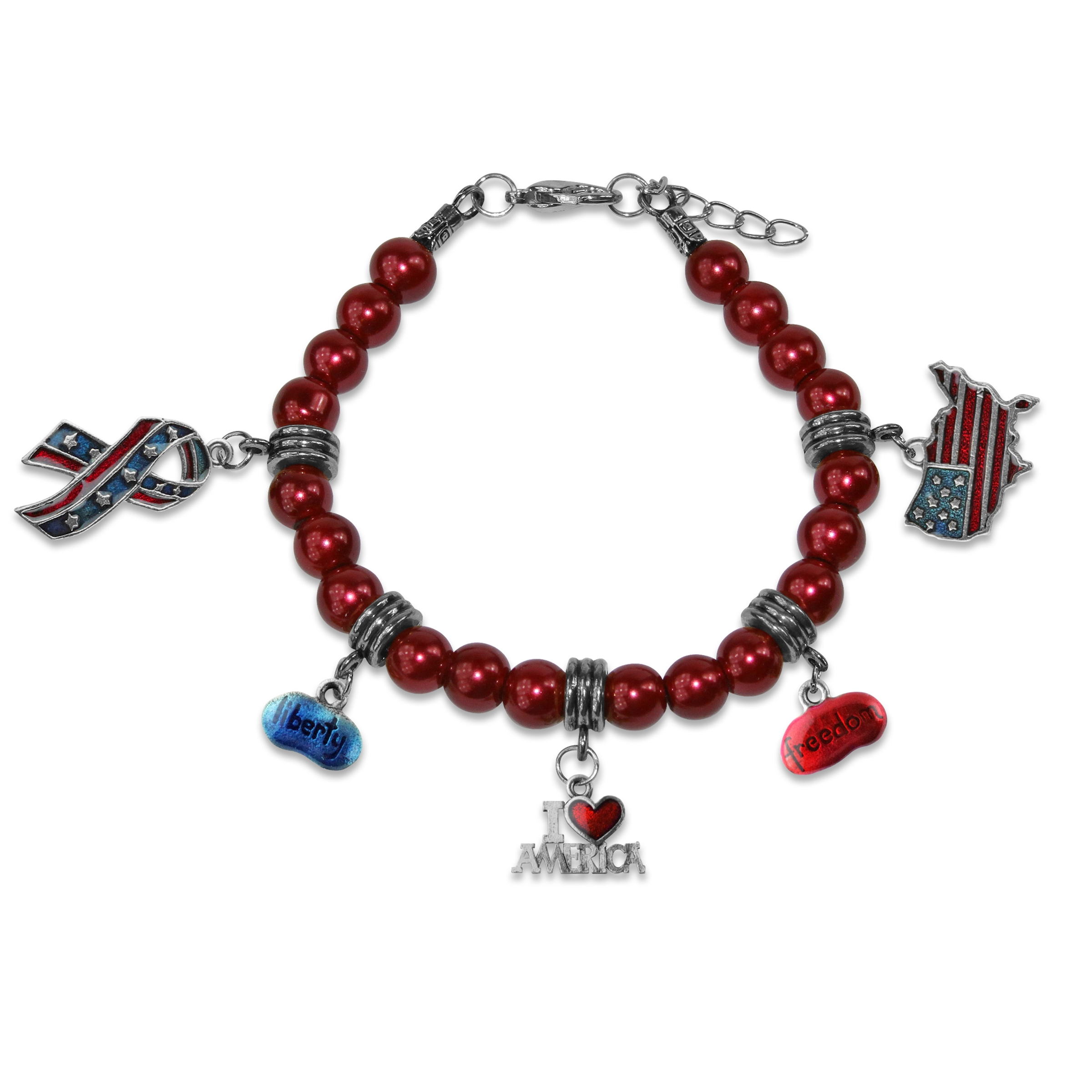 Image of American Patriotic 4th of July Charm Bracelet in Silver