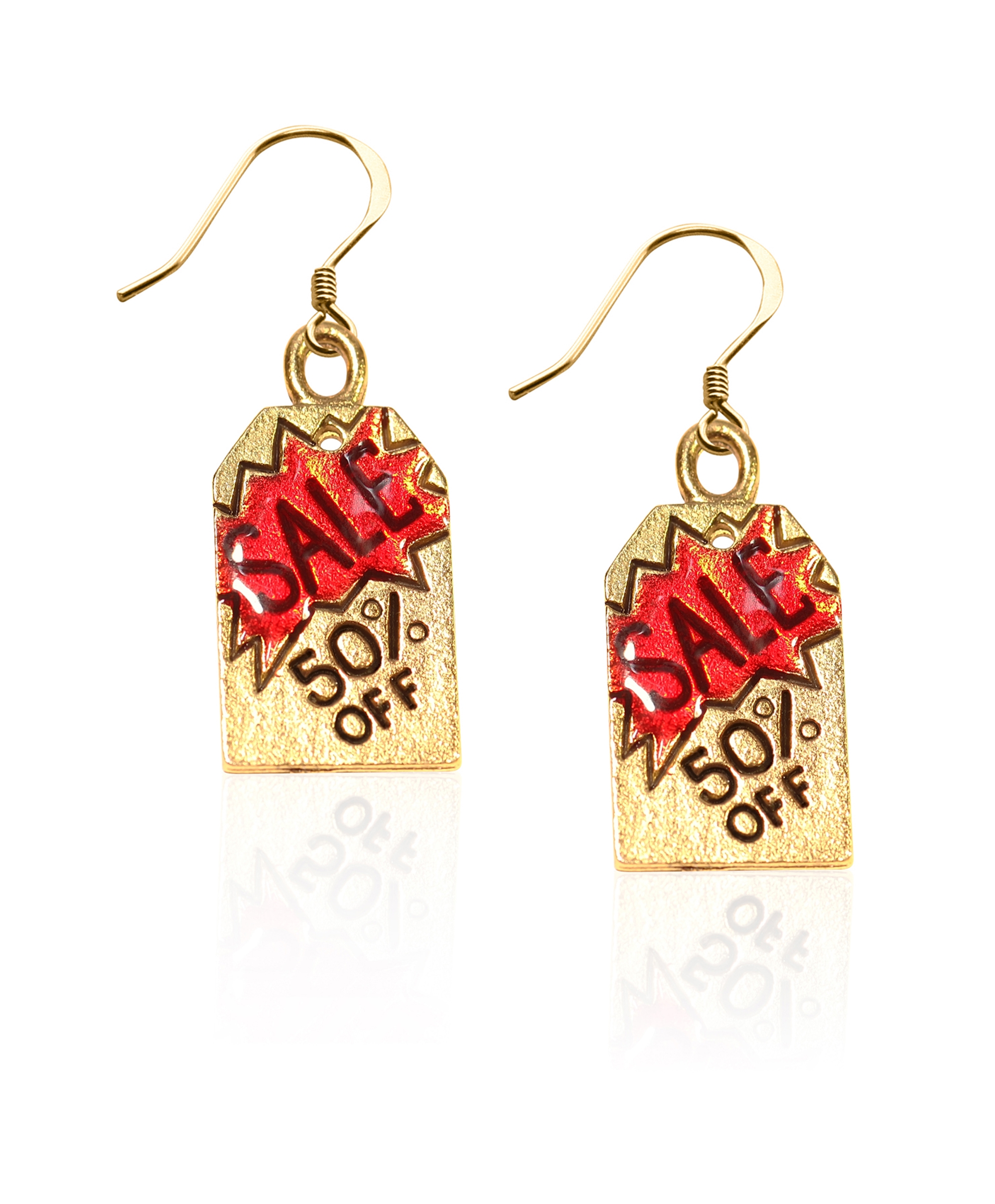 Image of 50% Off Sales Tag Charm Earrings in Gold