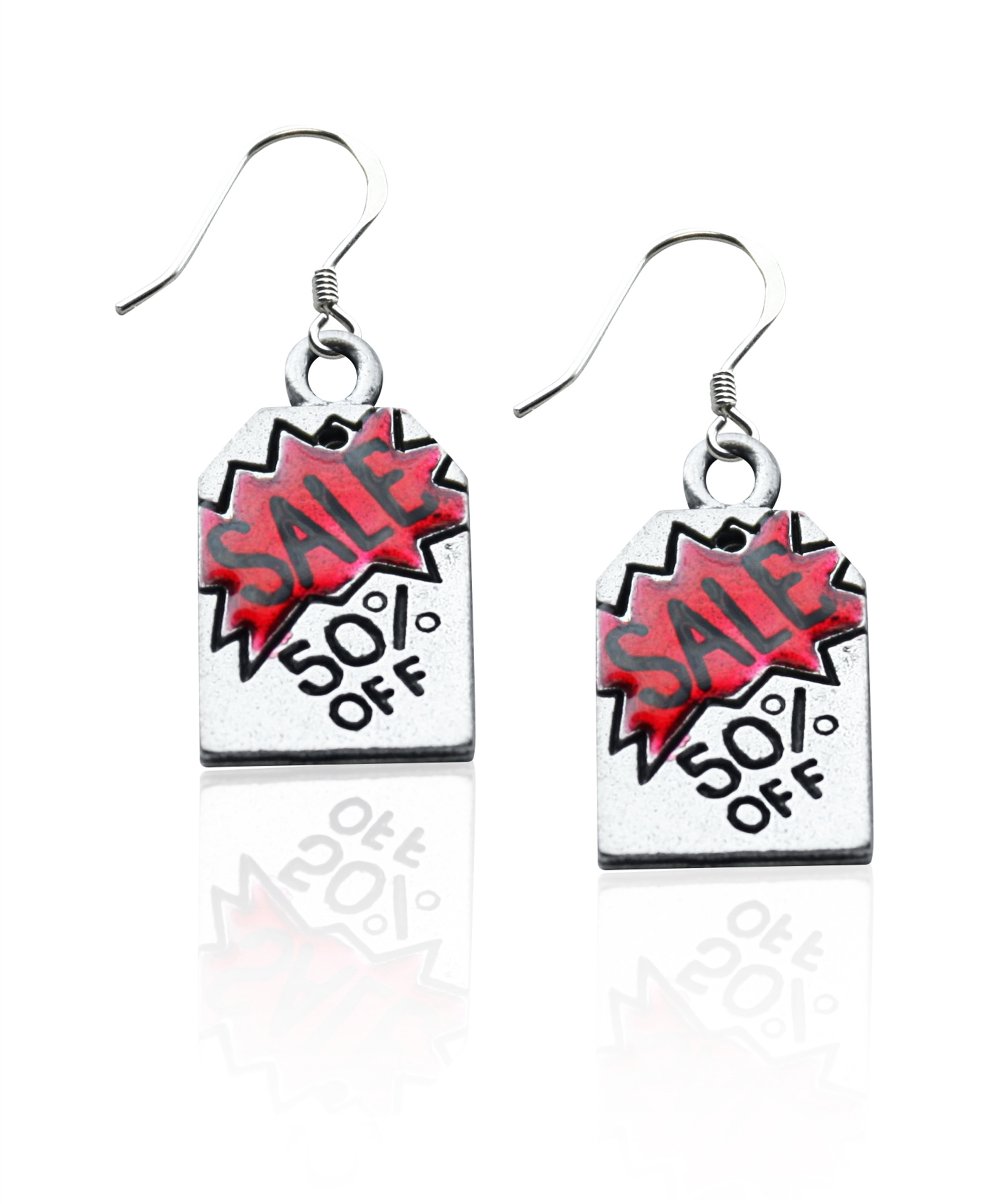 Image of 50% Off Sales Tag Charm Earrings in Silver