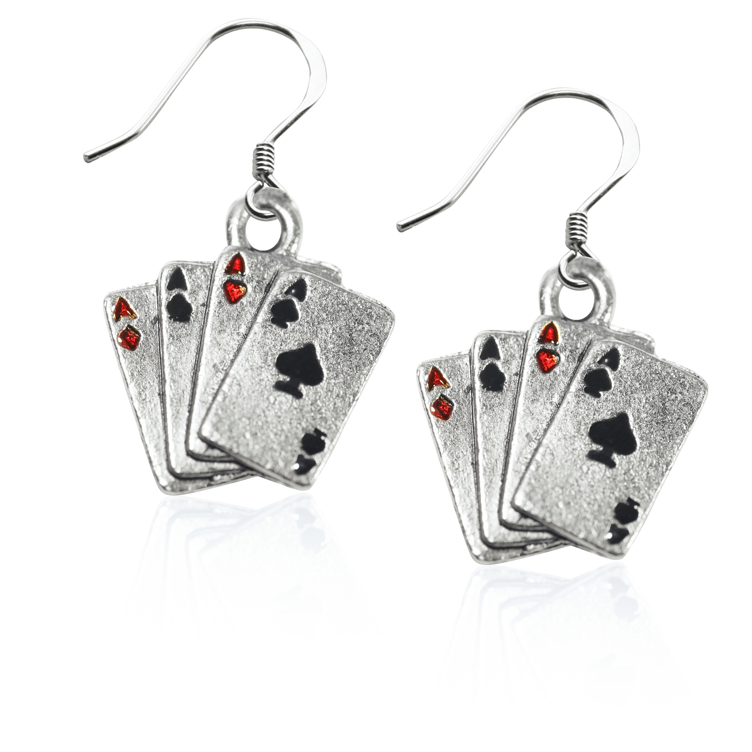 Image of Aces Charm Earrings in Silver