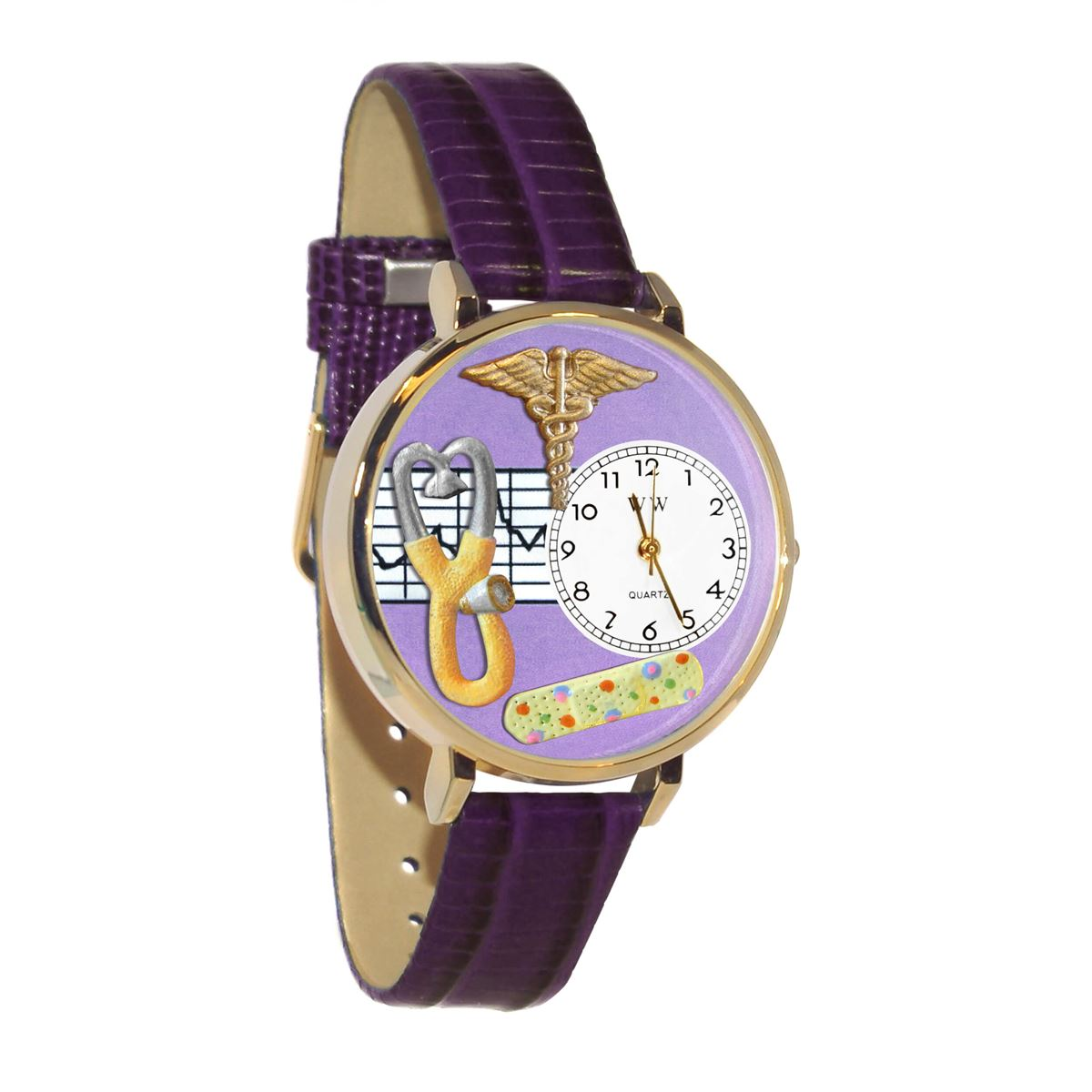 Nurse 2 Purple Watch in Gold (Large)