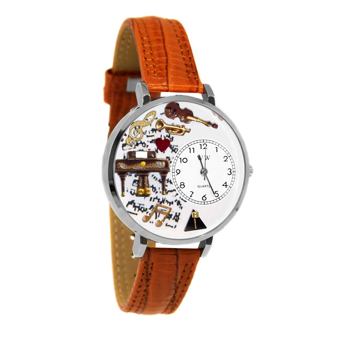 Music Piano Watch in Silver (Large)