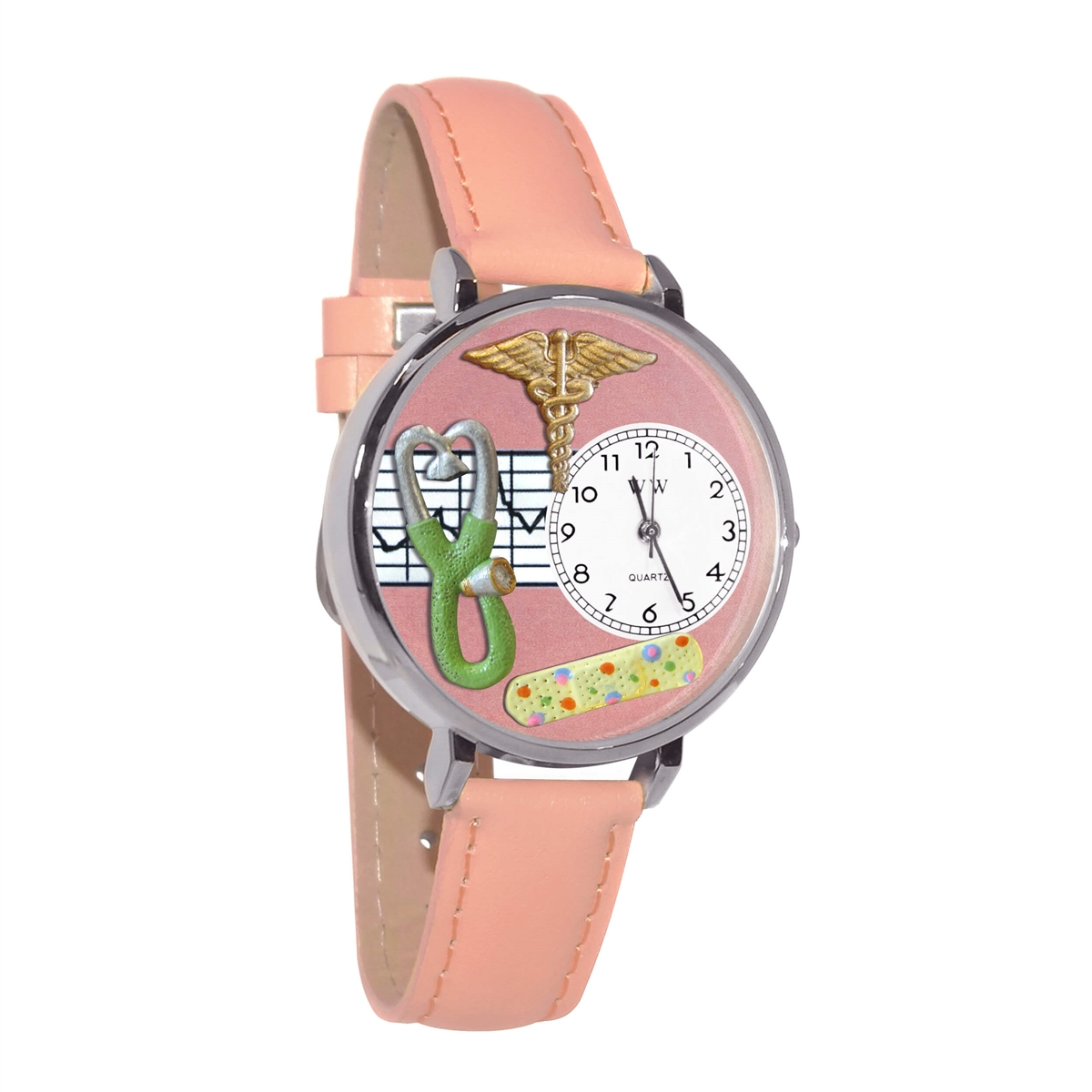 Nurse 2 Pink Watch in Silver (Large)