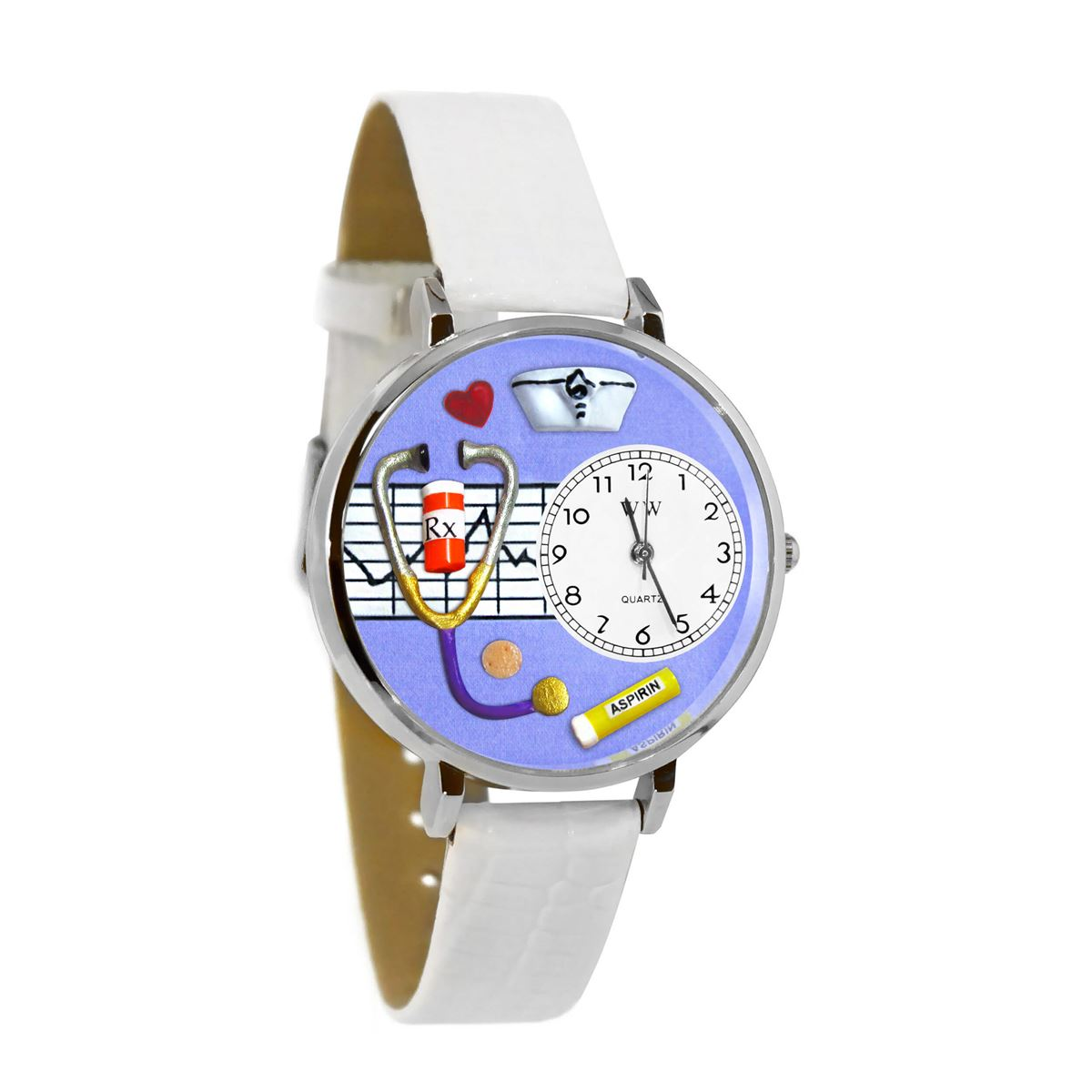 Nurse Purple Watch in Silver (Large)